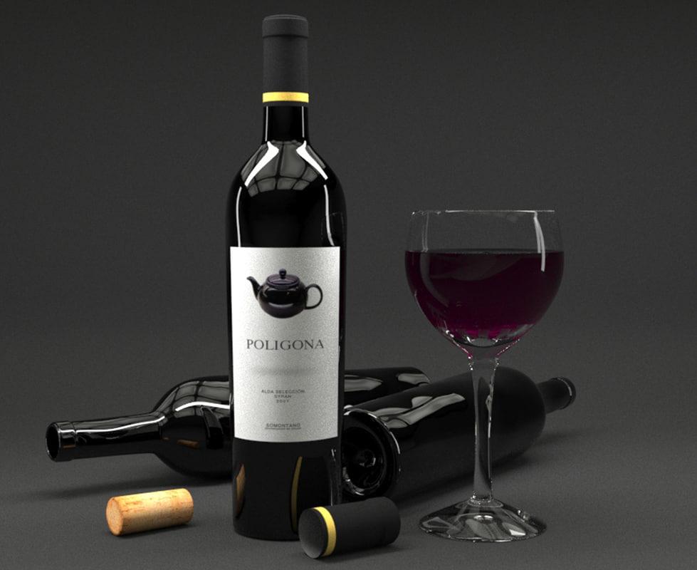 3d glass red wine bottle