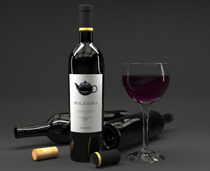 3d glass red wine bottle