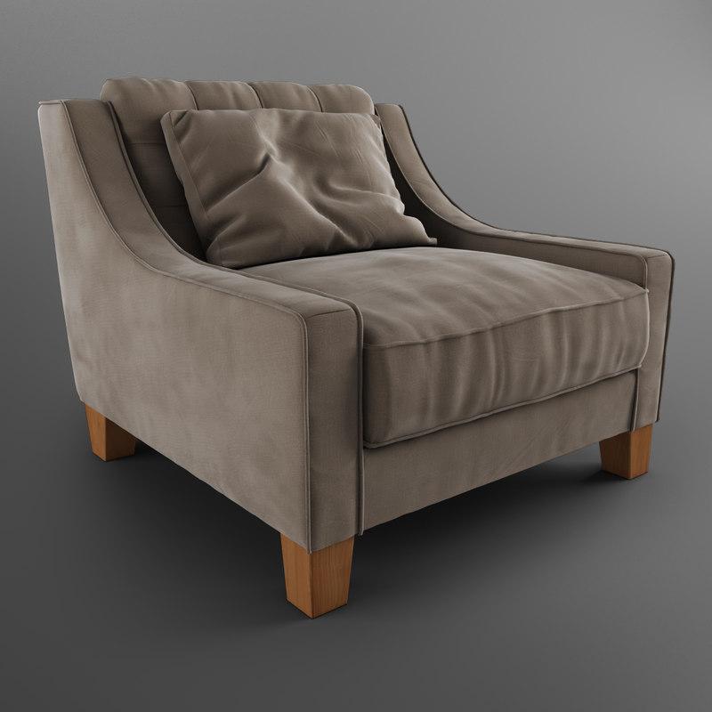 rosalie classic armchair opera 3d model
