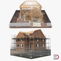 private house construction set 3d model