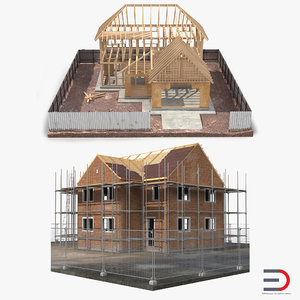 private house construction set 3ds