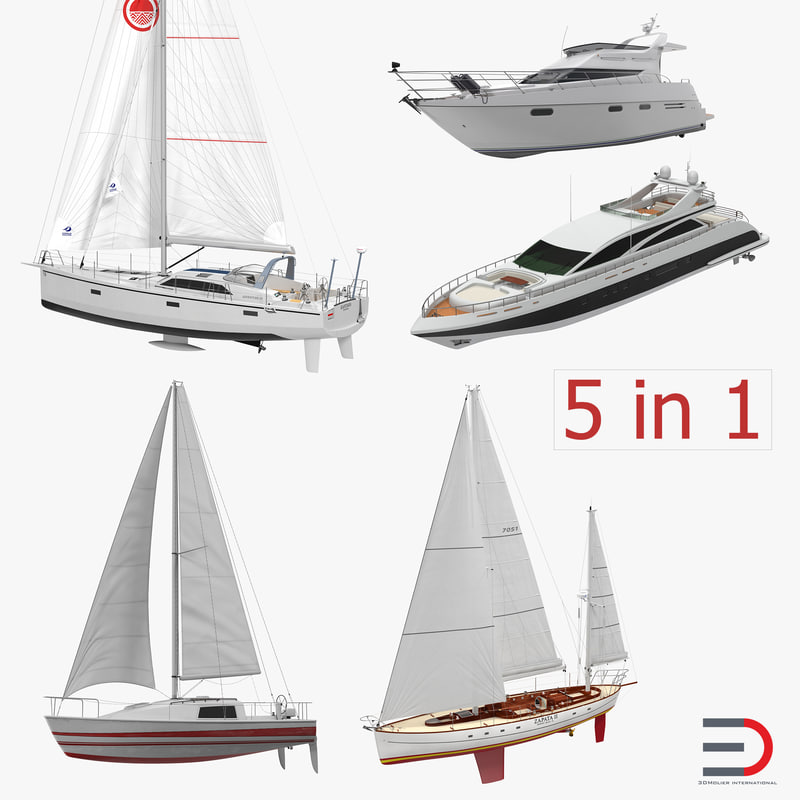 yachts set offshore 3d model