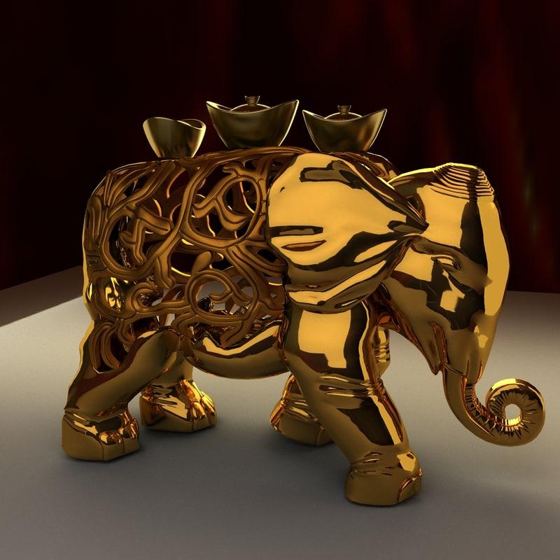 3d chinese elephant gold ingot model