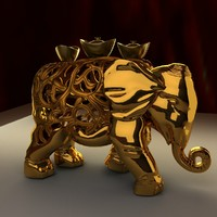 3d chinese elephant gold ingot model