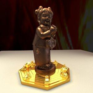 3d chinese girl gold ingot