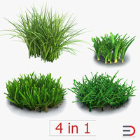 grass set field 3d model