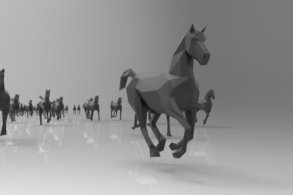 horse running - 23pcs 3d model
