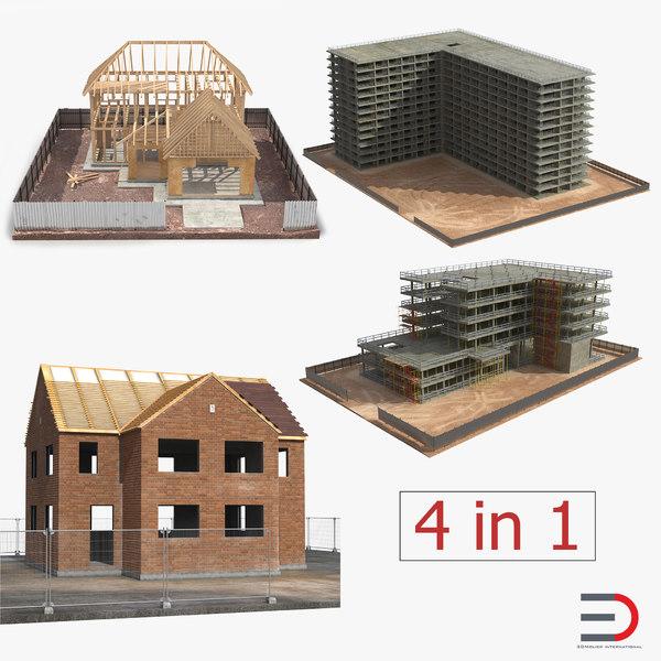 house construction set building 3d 3ds