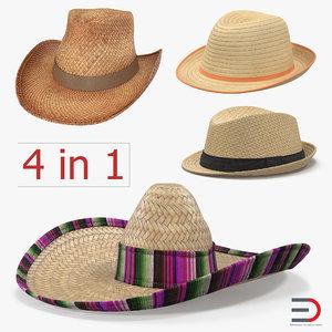 straw hats sombrero 3d c4d