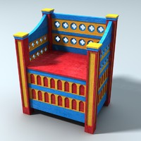 3d model medieval norman chair