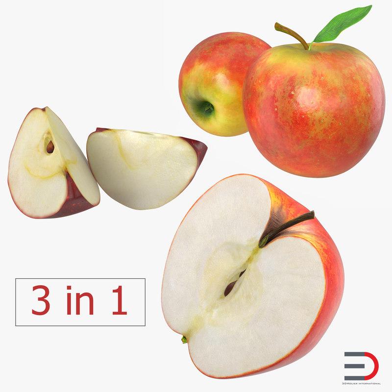 apple fruit 2 3d model