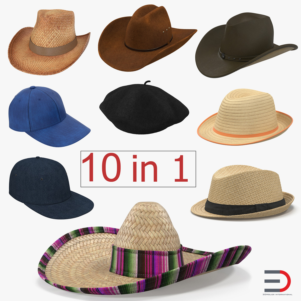 3d model hats set straw