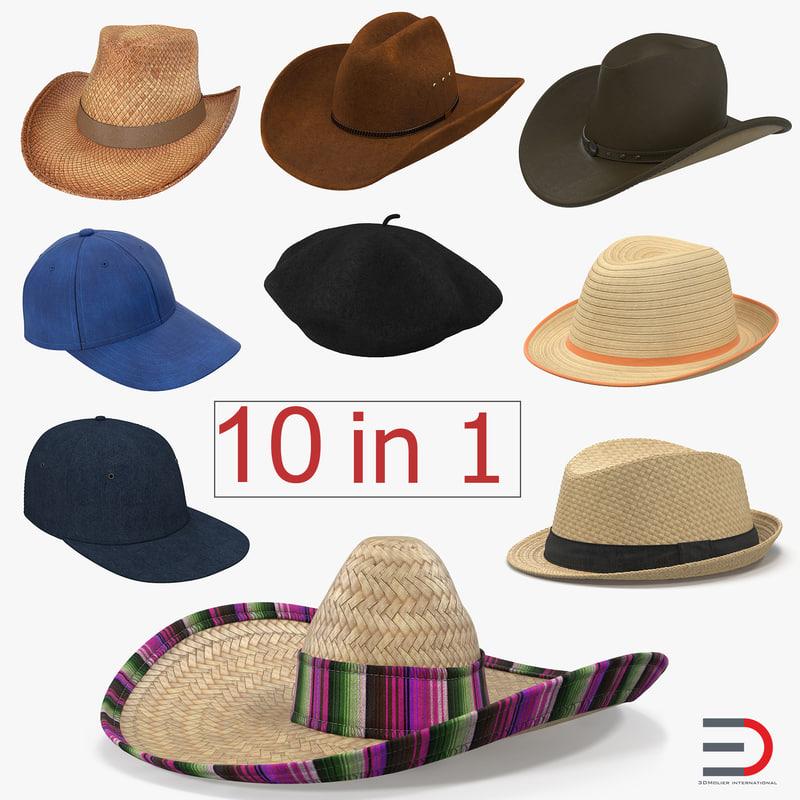 3d model hats sombrero baseball cap
