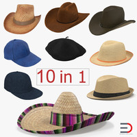 3d model hats set straw