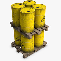 wooden pallet radioactive barrels 3d model