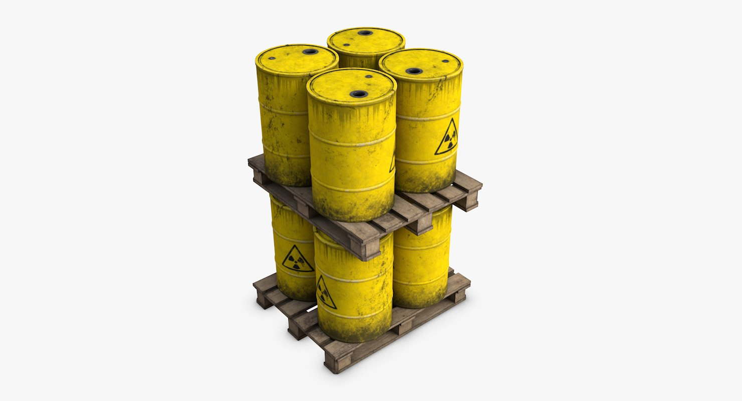 3d model wooden pallet radioactive barrels