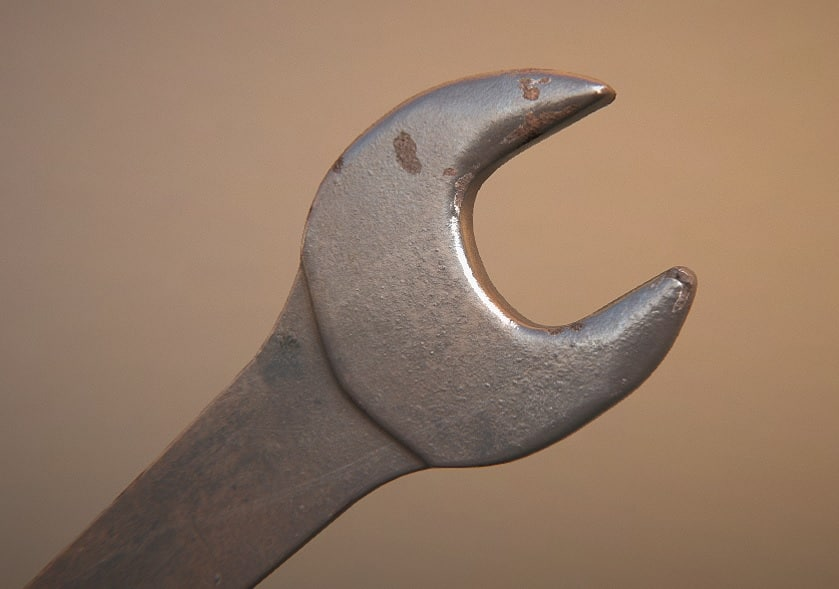 realistic wrench old rusty 3d model