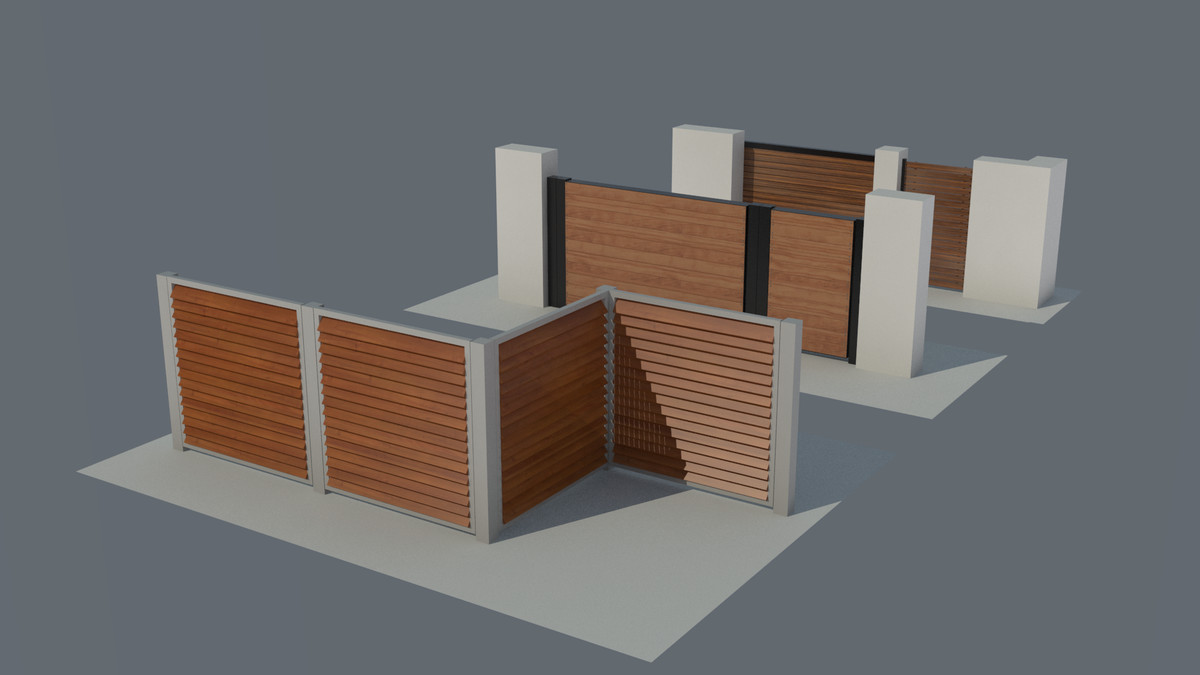 3d model 3 type wooden fence
