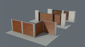 3d model 3 type wooden fence