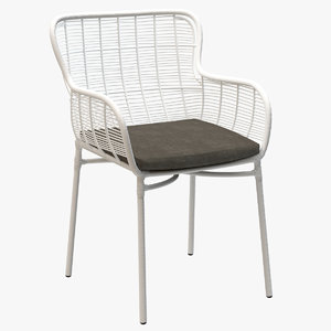 3d model mudo maxime armchair rattan chair
