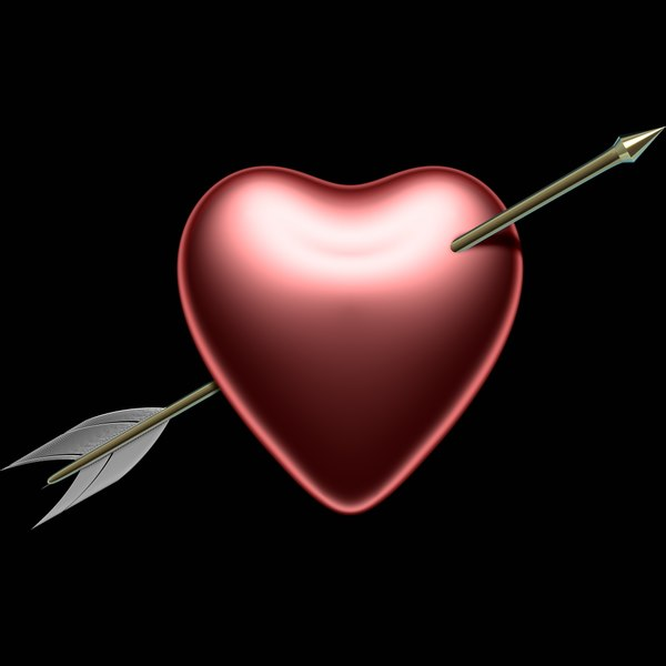 3d model of heart arrow