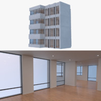 3d modern resort apartment building model