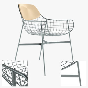 3d model of metal armchair lounge chair