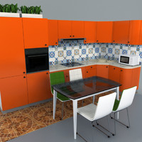 3d model modern orange kitchen set