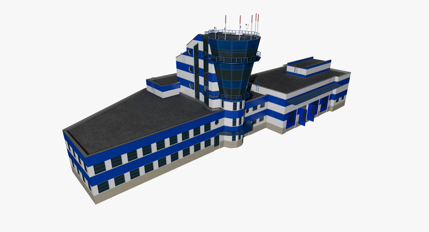 realistic airport control tower 3d 3ds