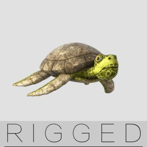 obj rigged sea turtle