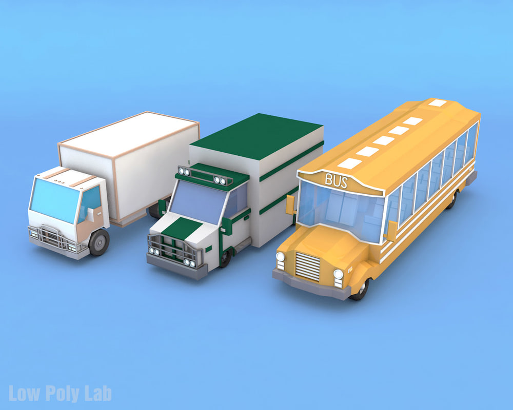 3d model bus truck lorry
