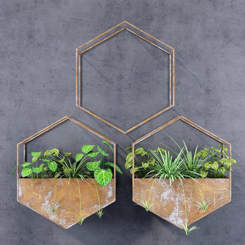 3d model of hexagon shelves