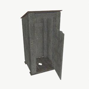 3d wooden toilet