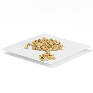 3d model pistachios white plate
