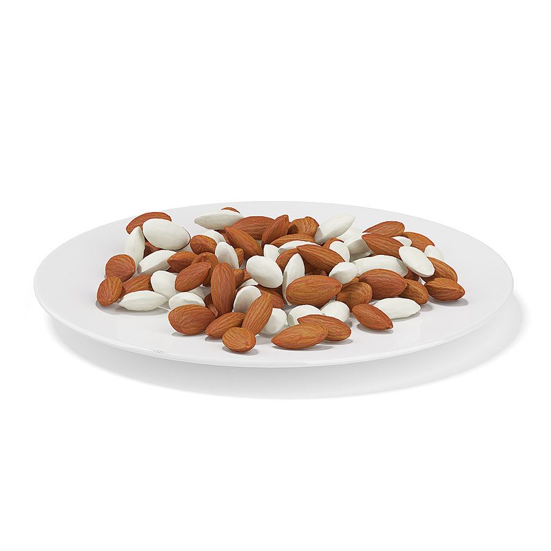almonds white plate max