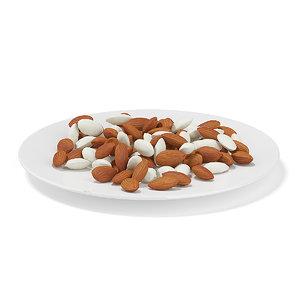 almonds white plate max