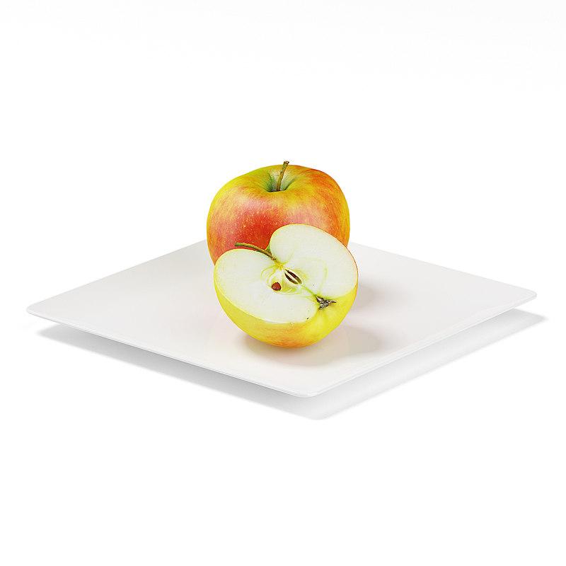 half apple white plate max