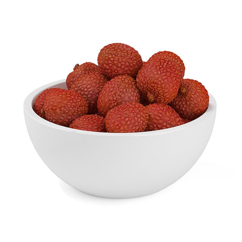 3d model lychees bowl