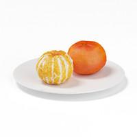 tangerines white plate 3d c4d