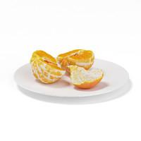 halved tangerine white plate 3d max
