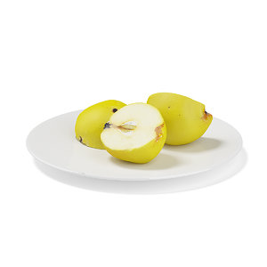 sliced quince white plate 3d model