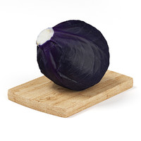 red cabbage wooden board 3d max
