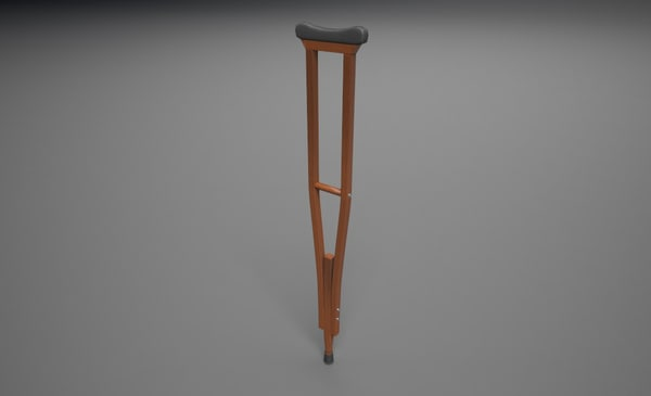 wooden crutch asset 3d model