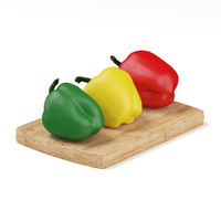 3d peppers red yellow green