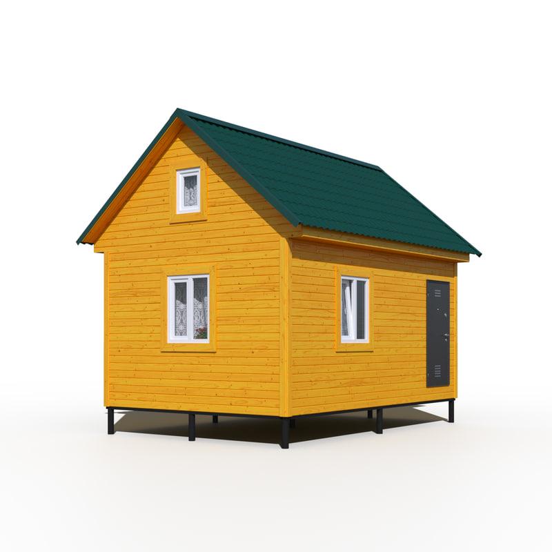 3d wooden frame house model