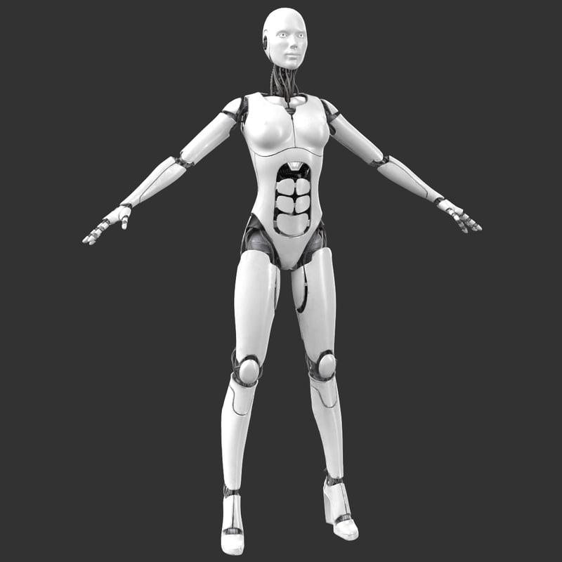 3d max sci-fi female cyborg robot