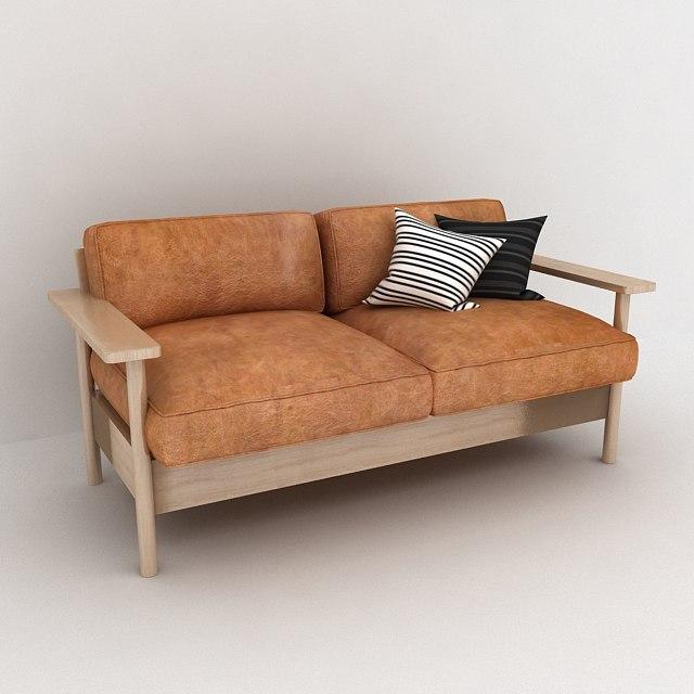 3d model of leather wood sofa