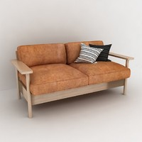 Wood leather sofa