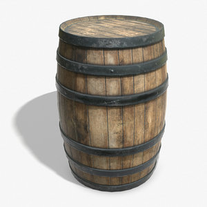 ready wooden barrel pbr 3d model