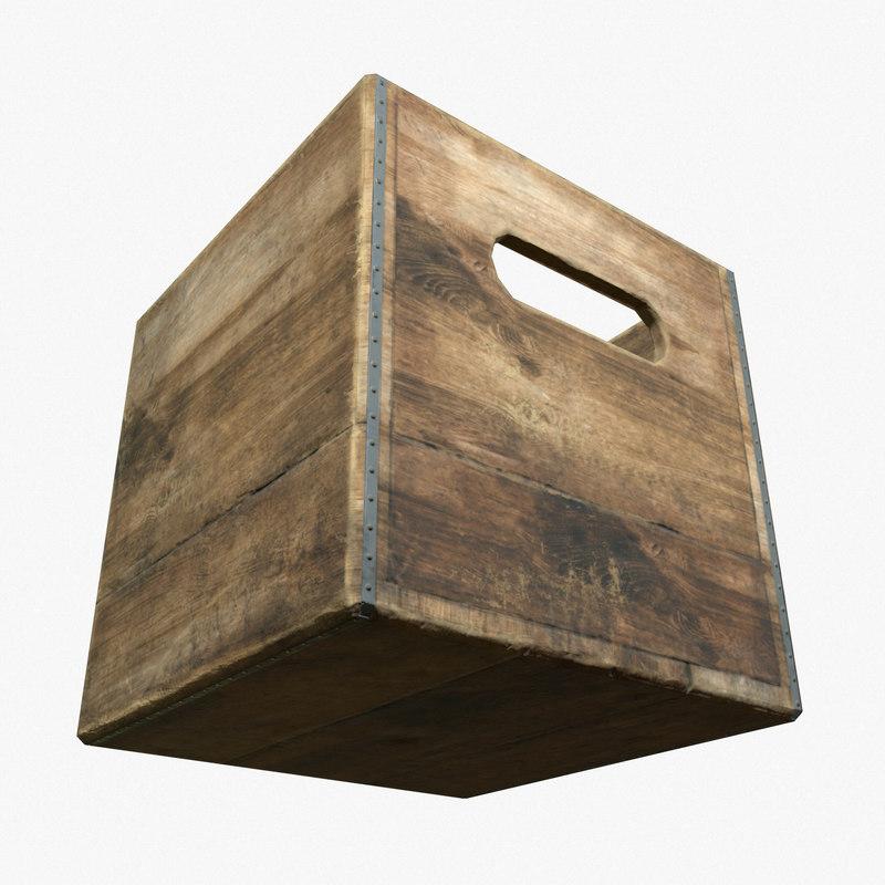 3d ready wooden milk crate model